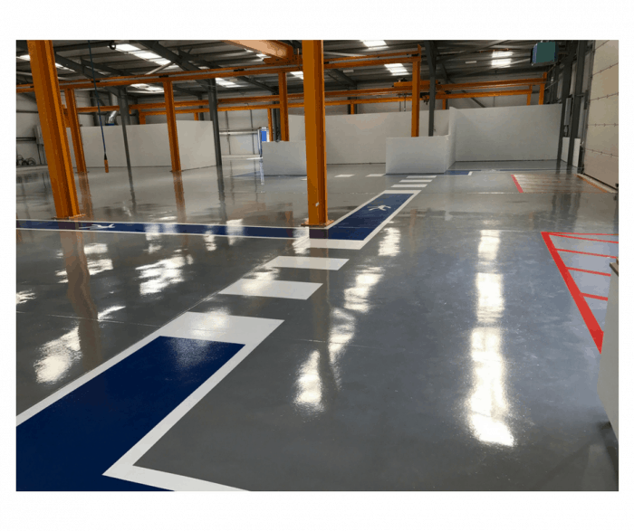 resin floor with demarcation