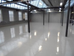 new resin floor in warehouse