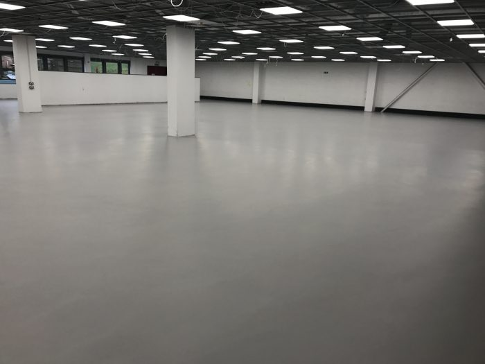 resin floor in an empty warehouse