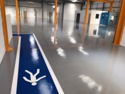 epoxy floor in empty warehouse
