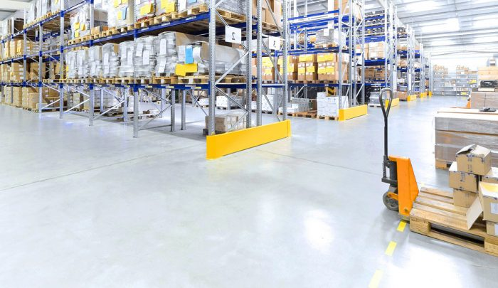 flow applied resin flooring example on warehouse floor